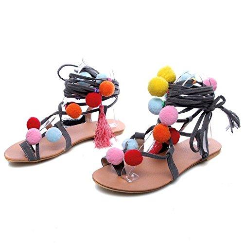 COOLCEPT Femmes Mignonne Colored Ball Split Toe Dentelle Leg Wrap Ete Gladiateur Appartements Sandales Gris