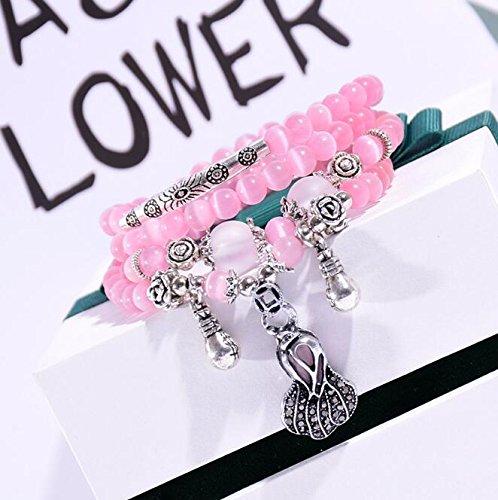 YOIL Exquisite und Kompakte Schmuck Dekoration DIY Handgemachte Perlen Armband Mode Damen Multi-Layer-Armband (Chinakohl)