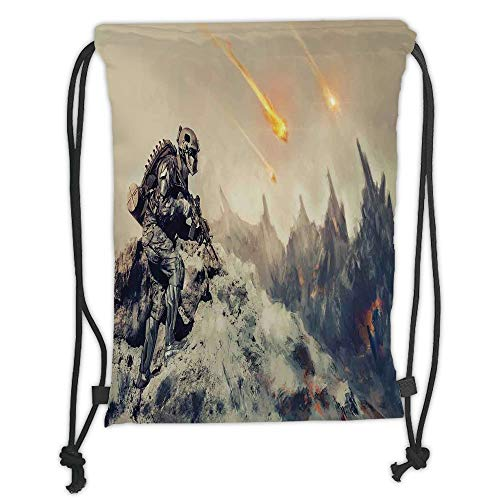 WTZYXS Drawstring Sack Backpacks Bags,Outer Space Decor,Futuristic Mechanical Armed Soldier in Battle Alien Planet Save The World Image,Grey Soft Satinring Closu,5 Liter Capacity. -