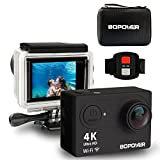 immagine prodotto Action Camera 4K Sport Action Camera,GooBang Doo,WIFI Ultra HD Waterproof DV Camcorder for Sport with 170 Degree Wide-angle 15M Long -distance Remote Control/2 Rechargeable Batteries