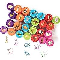 Conjunto de Sellos Animales Ppara Niños, Bestele 26 piezas Sello de Tinta Lavable de Tinta Para Niños Favor de Fiesta, Premios Escolares, Regalo de Cumpleaños, Aprendizaje de Accesorios