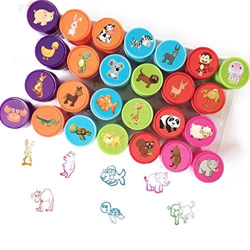 Animaux Stamp Set pour Les Enfants, Bestele 26 Pcs Caoutchouc Encre Lavable Stampers Seal pour Enfants Party Favor, Prix de l'école, Cadeau d'anniversaire, Apprendre Les Accessoires