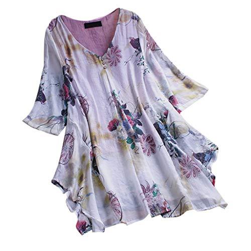 MRULIC T-Shirt Damen Tops Bluse Gedruckt Kurzarm Casual Tunika Oberteile Dreifacher Farbblock Streifen Frühling Sommer Shirt Frauen Locker Beiläufig Tanktops(D-Violett,EU-44/CN-2XL)