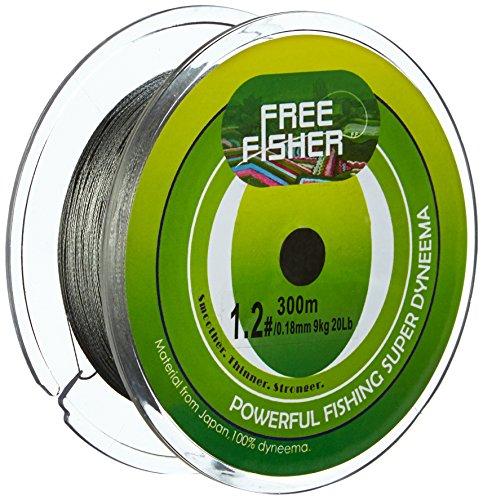 Freefisher Geflochtene Angelschnur 300m 100%PE 0,14mm-0,5mm (Grau, 0.12mm)
