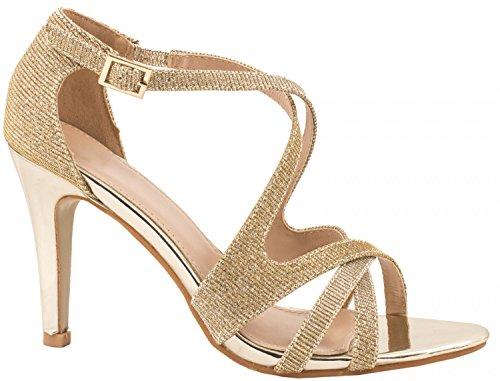 Elara Damen Pumps | Moderne Abendkleid Stilettos | Bequeme Metallicoptik High Heels (37, (Für Riemchen Ferse Gold Schuhe Mädchen)