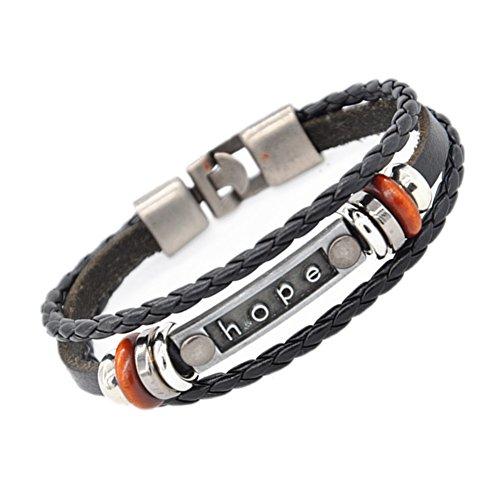 quality design 9680e 17b78 Hope Bracelet -MULBA Gioielli Uomo Donna Braccialetto Vintage da polso in  pelle braccialetto della fascia
