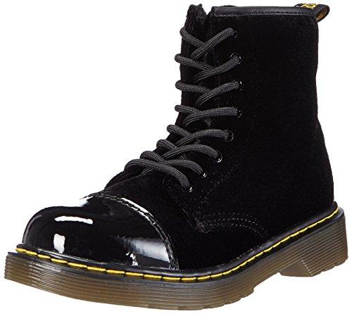 Dr. Martens Pooch Ze You Velvet Black, chaussures bateau mixte enfant Noir - Noir