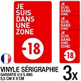 Lot de 3 autocollants / stickers interdit moins de 18 ans / 5.5 cm x 9 cm