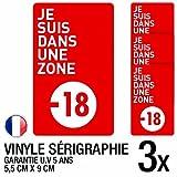 Set di 3adesivi per divieto ai minori di 18anni, dimensioni di 5,5x 9cm (lingua francese)