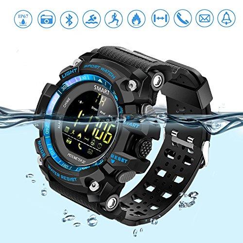 Reloj Deportivo Fitness Tracker SmartWatch con Podómetro Resistente al agua (IP67) Control Remoto de Cámara Reloj para Correr Para Smartphones Android e IOS La mejor opción para Hombres y Chicos Azul