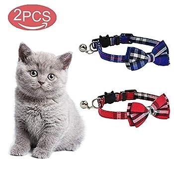 kingkindshun Pack de 2 / Set Chat Collier échappée avec Noeud Papillon et Une Clochette pour Kitty et Quelques Chiots, réglable (Bleu + Rouge)