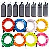 EL Wire Kit 8 Stück – Aria Blau Rot Weiß Grün Pink Lila Gelb Orange EL Draht Neon Lichter Tragbar Batteriebetrieben mit 3 Modi für Halloween Weihnachten Party DIY Dekoration (RGB)