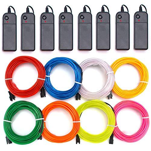 – Aria Blau Rot Weiß Grün Pink Lila Gelb Orange EL Draht Neon Lichter Tragbar Batteriebetrieben mit 3 Modi für Halloween Weihnachten Party DIY Dekoration (RGB) ()