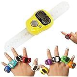 LCD Electrónico Digital Golf Finger Anillo, Digital de 5 - Dígitos Anillo del Dedo Universal Talla, Amarillo