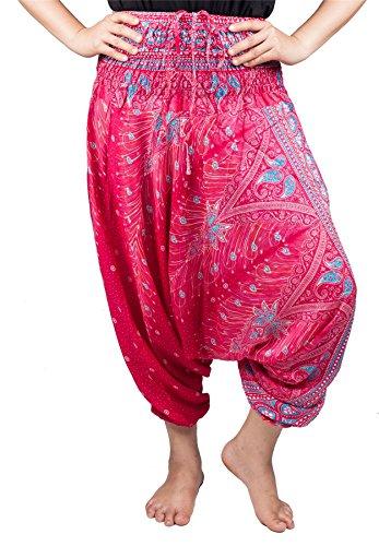 Lofbaz Damen 2 in 1 Haremshose & Jumpsuit Pfauendruck Rosa & Hellblau S