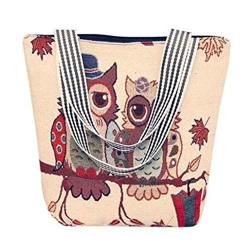 Tasche, Voberry Mode Frauen Canvas Eule Muster Handtasche Schulter Umhängetasche Taschen Tasche C