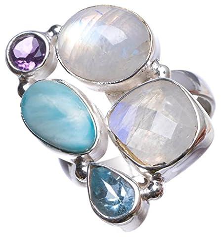 Stargems (TM) Naturel Pierre de Lune, Caraïbes Larimar, améthyste et topaze bleue indien Bague en argent sterling 925, taille O
