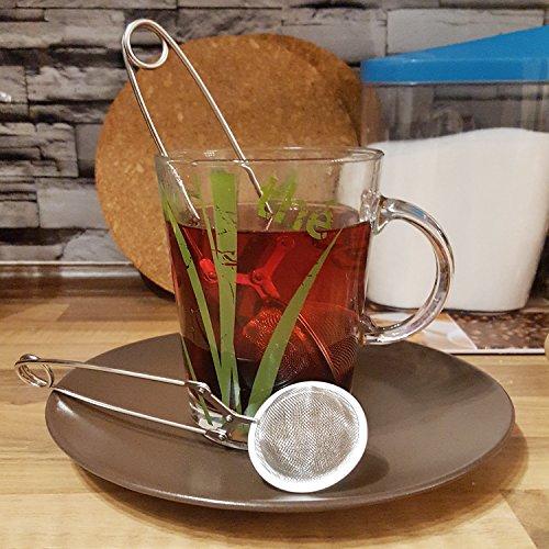 COM-FOUR® Tee Ei Sieb Teeei Teezange Teesieb für Teeliebhaber (Ø 4,5 – 2 Stück) - 4