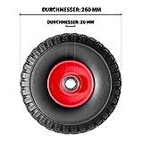 Pannensicheres Sackkarrenrad mit Kugellager PU Cross 260, 260x85x20 mm, Vollgummi, Ersatzrad Sackkarre, Stück:4 Räder