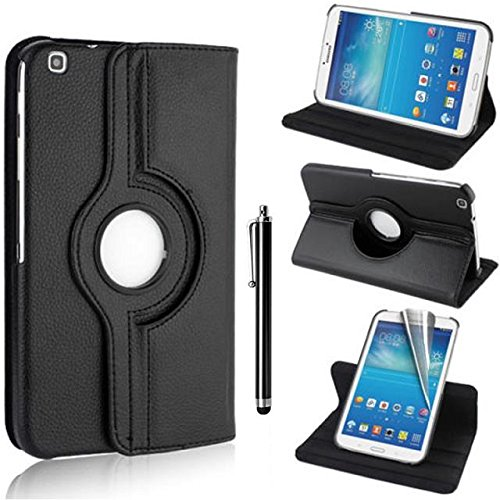 360 degrés Rotation Coque en Cuir pour Samsung Galaxy Tab 3 8.0 (8 pouces) T310 Tablette Housse de protection Etui avec la fonction de stand Case/Cover + film de protection d'écran et Stylet(Noir)