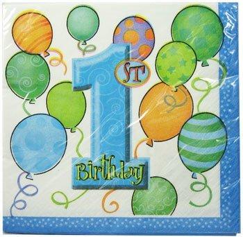 Geburtstagsservietten für den 1. Geburtstag, für Jungen, Blau, 16 Stück (Geburtstag 1 St)