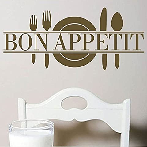 1Pcs Bon Appetit Amovible R¨¦utilisable Cuisine Stickers Muraux Mural Autocollants Dining Room Home Decor Bar Restaurant MetroLager Marron