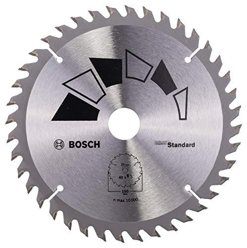 Bosch 2609256807 Standard Lame de scie circulaire 40 dents carbure Coupe nette DiamÚtre 150 mm alésage/alésage avec bague de réduction 20 / 16 Largeur de coupe 2,2 mm