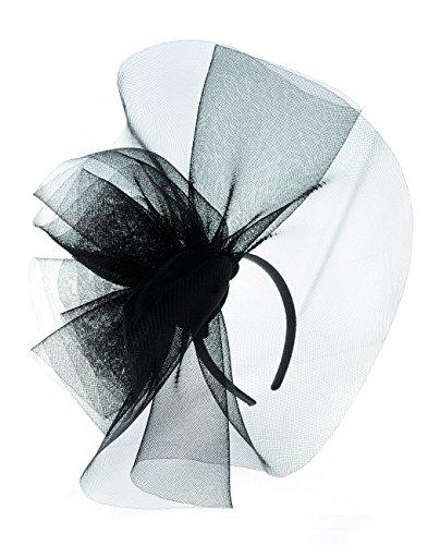 NYFASHION101 Elegant Formal Curlicue Center Sinamay Fascinator Headband - Black