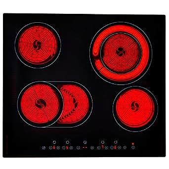 Table de Cuisson Vitrocéramique 4 foyers noir 59 cm 7200 W