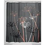 InterDesign Thistle Duschvorhang   183,0 cm x 183,0 cm großer Badewannenvorhang   waschbarer Duschvorhang aus Weichem Stoff   mit Blumen-Motiv   Polyester Grau/Koralle