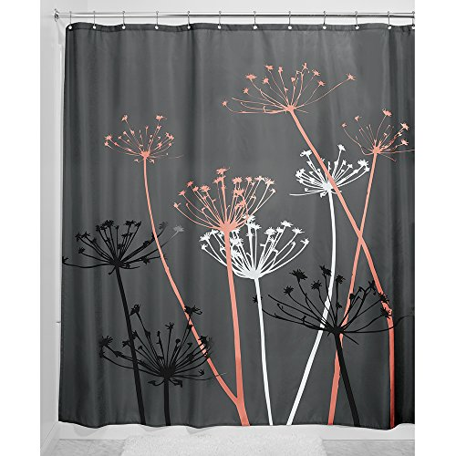 grey and coral shower curtain. InterDesign Thistle Fabric Shower Curtain  183 x cm Gray Coral Curtains Amazon co uk