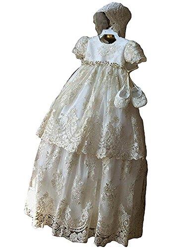 Bestickte Satin Motorhaube (Spitze Baby Lang Taufkleider Mädchen Kleid Taufkleid festlich Hochzeit Kommunionkleider (Elfenbein, 12-18Monate))