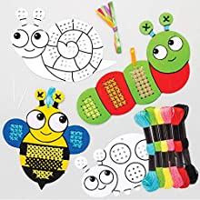 Baker Ross Bug Colour-in Cross Stitch Kits — Ideal for Kids' Arts and Crafts, Educational Toys, Gifts, Keepsakes and More (5 Pack)