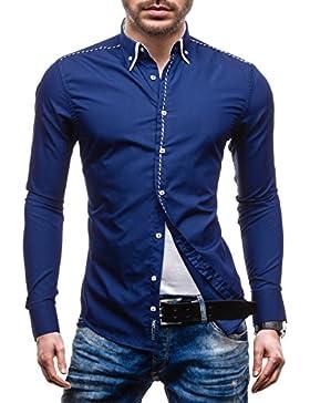 BOLF Hombres Camisa con mangas largas Camisa del ocio Slim Fit Con Kent Collar 4797