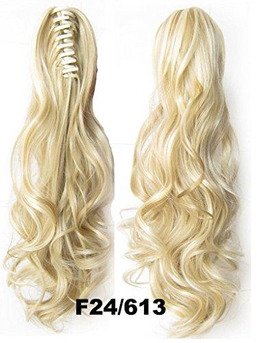 Queen Wig Langwelle-Greifer-Klipp-Pferdeschwanz-in am Haarteil Verlaengerung Haarteil - #24/613 natuerliche blonde / Bleichmittel blonde