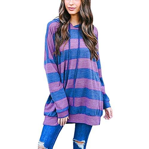 r Langarm Hoodie Pullover Ronamick Fraue lang Drucken Hooded Sweatshirt mit Kaputze Drawstring Kapuzenpullis Pulli Hoodys (2XL, Lila) ()
