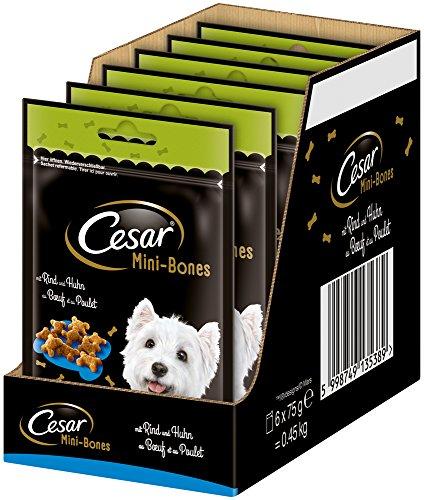 Cesar Hundesnack Hundeleckerli Mini Bones mit Rind und Huhn, 6 er Pack (6 x 75 g)