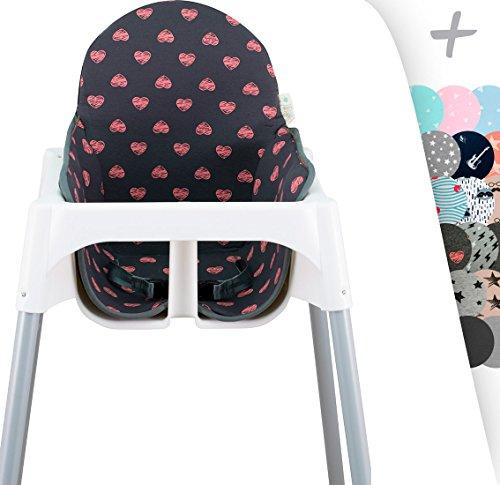 Janabebe Coussin pour le chaise haute Ikea Antilop (FLUOR HEART)