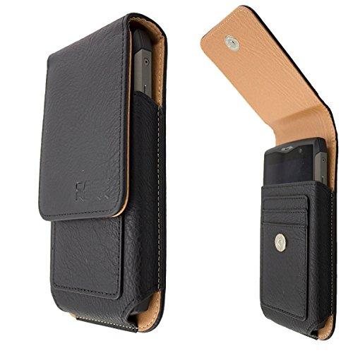 caseroxx Handy-Tasche Outdoor Tasche für RugGear RG730 aus Echtleder, Handyhülle für Gürtel in Schwarz
