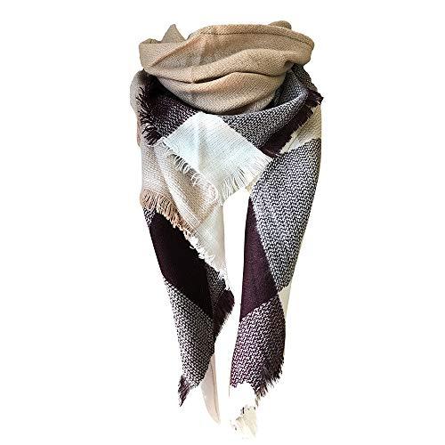 GreatestPAK Damen Schal doppelseitige große Plaid bunte quadratische Dreieck klassische Quaste karierten warme weiche Decke Wrap Schals