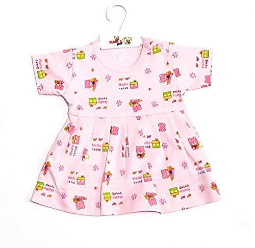momspet baby cartoon printed frock - Pink