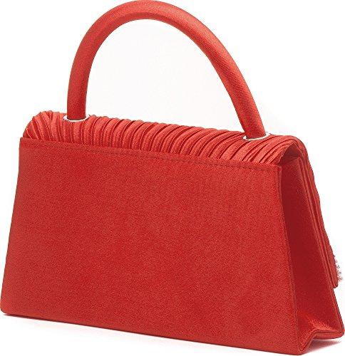 Vincent Perez Sac pochette de soirée Petite anse et bandoulière En satin drapé avec application de strass 19,5x 11,5x 5cm (l x h x p) Rouge - Rot (Koralle)