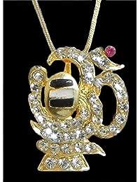 DollsofIndia Gold Plated Pendant - Shivalinga Encompassed By Stone Studded Om - Metal (HN84-mod) - Golden, Yellow