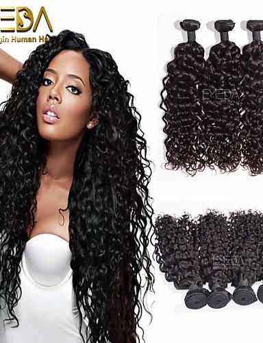 ZQ 3pcs / lot prima rizo negro extensiones de cabello humano de la ond