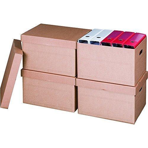 karton-billiger 10 Stück Archivschachteln mit Boden und Deckel zur Ablage von Ordnern A4