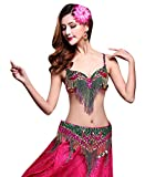 YiJee Damen Tanz Kostüm Bauchtanz Set Indian Dance Tops Belly Dance BH Set Rose S