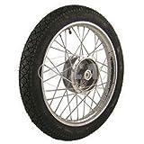 Komplettrad 1,5x16 Zoll, Stahl verchromt - mit Heidenau-Reifen K36/1 montiert (RADNABE: Graugussbremsring (GG),abgedrehte Flanken)