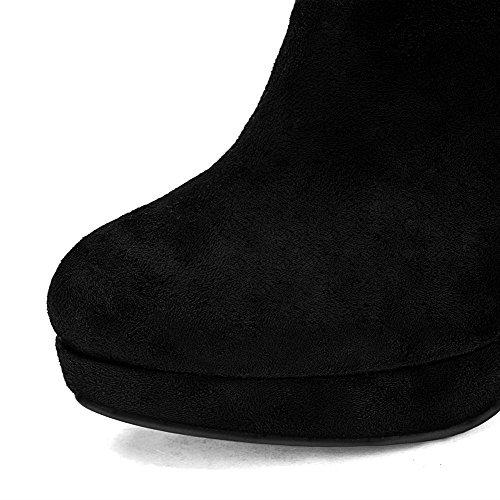 AgooLar Damen Reißverschluss Rund Zehe Hoher Absatz Niedrig-Spitze Stiefel Schwarz