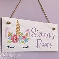Christmas/Birthday Gift Girls Unicorn Room Plaque Bedroom Door Sign/plaque Personalised Name Pretty stocking filler