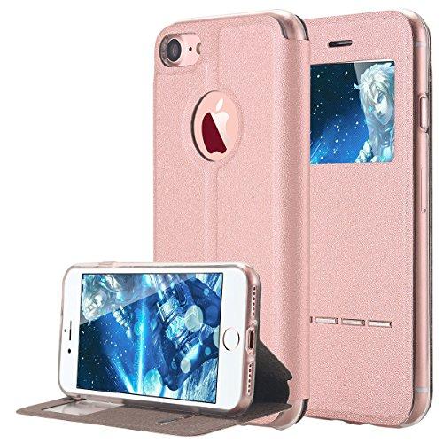 iPhone 7cellulare, per iPhone 7Case, lontect alta qualità Case Foglio Borsa Cover con standfunction, finestra, è per Apple iPhone 7 rose gold